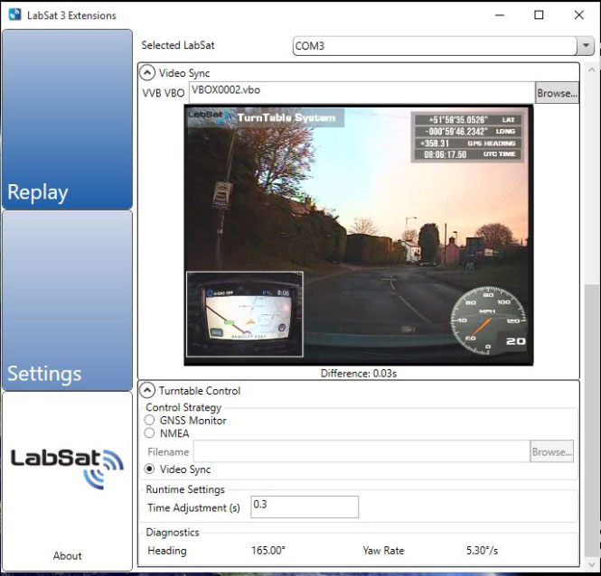 LabSat 3 extensions software replaying synchronised video